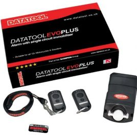DATATOOL EVO PLUS SELF FIT MOTORCYCLE SCOOTER ALARM WITH 2 TRANSPONDERS LOW DRAW