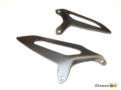 DUCATI 899 959 1199 1299 CARBON FIBRE RIDERS HEEL GUARDS IN PLAIN SATIN (MATT)