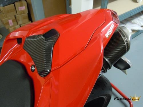 DUCATI 848 1098 1198 CARBON FIBRE SEAT PAD COVER TWILL WEAVE FIBER CARBON KING