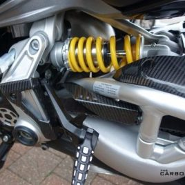DUCATI XDIAVEL N/S CARBON FIBRE FRAME REAR SET GUARD IN TWILL GLOSS WEAVE