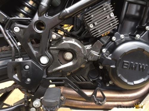 THE CARBON KING BMW F800GS CARBON FIBRE ENGINE SPROCKET COVER IN 3K PLAIN FIBER