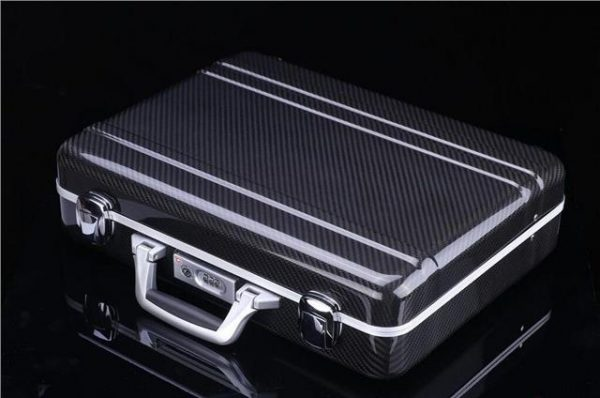 REAL CARBON FIBRE BRIEFCASE BY 'THE CARBON KING' WITH ROSSO 'FAUX' LEATHER