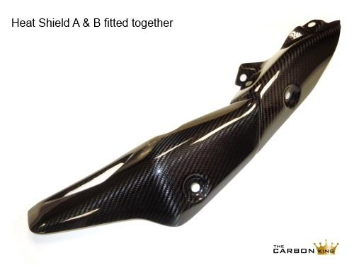 KAWASAKI ZX10R 2016 CARBON FIBRE EXHAUST HEAT SHIELD (B) IN TWILL WEAVE FIBER