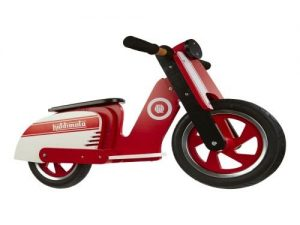 KIDDIMOTO WOODEN SCOOTER 'RED/WHITE' BALANCE BIKE YEARS 2-5