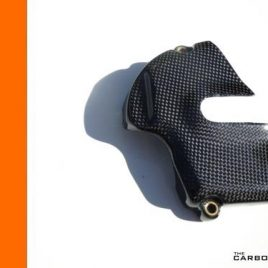 THE CARBON KING KTM RC8 & RC8R CARBON FIBRE SPROCKET COVER IN GLOSS PLAIN WEAVE