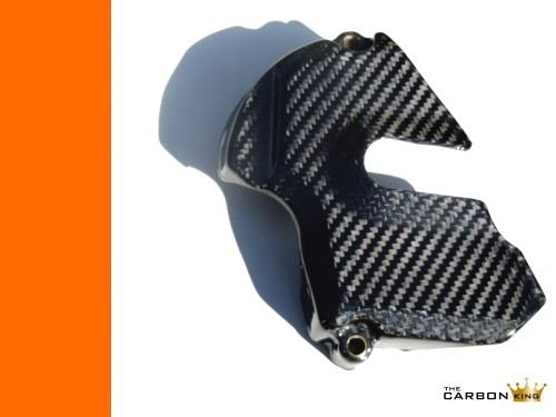 THE CARBON KING KTM RC8 & RC8R CARBON FIBRE SPROCKET COVER IN GLOSS TWILL WEAVE