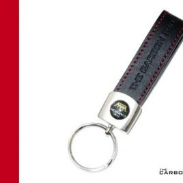 THE CARBON KING KEYRING BLACK LEATHER WITH ROSSO STITCHING MADE IN PORTUGAL