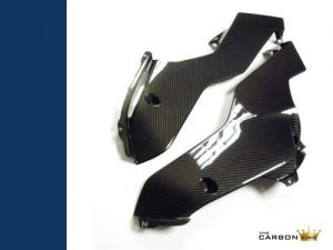 YAMAHA R6 2017 CARBON FIBRE BELLY PANS (PAIR) IN TWILL GLOSS WEAVE FIBER PAN