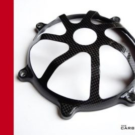 DUCATI CARBON FIBRE DRY CLUTCH COVER 7 FINGER STYLE IN PLAIN WEAVE