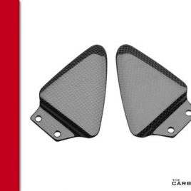 DUCATI 748/916/996/998 CARBON PILLION HEEL GUARDS IN PLAIN WEAVE